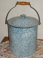 ANTIQUE French Enamelware CHAMBER POT / Graniteware design -1930's