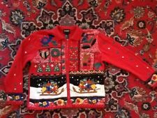 Designers Originals Studio Bears on Sleds Christmas Sweater L Not Ugly EUC