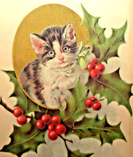 Christmas Cat~KITTEN WATCHING FROM HOLLY BRANCH~GOLD Embossed Antique Postcard