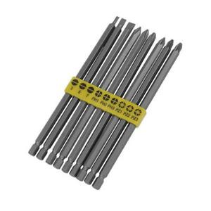 9pc 150mm Extra Long Drill Screwdriver Power Bit - Phillips Pozi Slotted Flat