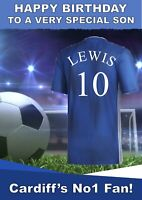 personalised Football birthday card Cardiff City Inspired any name age etc