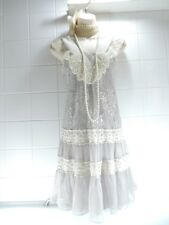 YUMI VTG 1920's Pale Grey Pearl Ruffle Lace Deco Charleston Gatsby Flapper DRESS