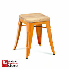 Replica Tolix Stackable Metal Stool (With Oak Wood Seat) 45cm - Orange