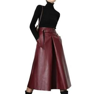 Womens High Waist Retro Faux Leather Skirts Belt A-line Slim OL Ladies Skirts L