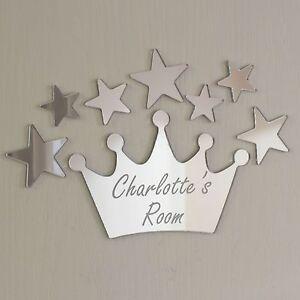 Princess Crown Mirror Set Personalised Door Name Plaque Boy Girls Bed Room Sign