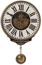 NEW RICH IVORY & BRASS PENDULUM WALL CLOCK ROMAN VINTAGE CONTEMPORARY STYLE