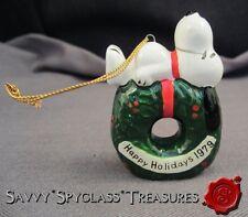 Vintage 1979 Ceramic Peanuts Snoopy Lying on Wreath Christmas Ornament