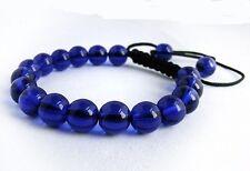Men's Shamballa bracelet all 10mm dark BLUE glass beads