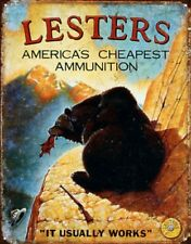 Bear Ammunition Hunting Funny Metal Ad Sign Picture Ammo Cabin Man Cave Decor