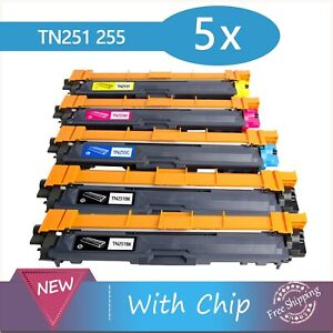 5x Toner  TN251 TN255 for Brother HL3150CDN HL3170CDW MFC9330CDW MFC9335CDW