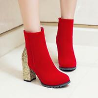 Womens New Glitter Bling Sequin Ankle Boots Round Toe Zip High Block Heels Shoes