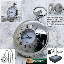 Silver Pocket Watch Men Quartz Brass Case Big 47 MM with Chain and Gift Box P51