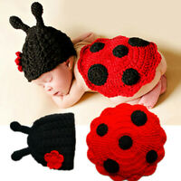 Newborn Baby Girl Boy Insect Crochet Knit Costume Photography Prop Hats Outfits