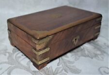 Antique Victorian Solid Oak & Brass Document Trinket Jewelry Box 2.75 x 8 x 5