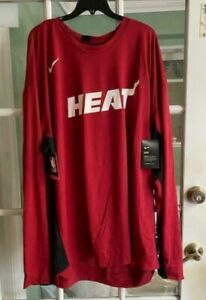 Men's Nike NBA Dri-Fit Miami Heat Long Sleeve Red AV0907-608 Size L