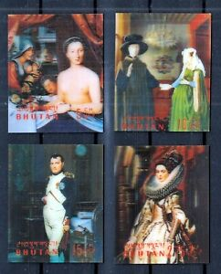 BHUTAN 1970 ☀ Art paintings / 3D plastic film ☀ 4v MNH