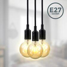 Pendelleuchte Retro Nordic 3x Fassung E27 Textil Kabel Deckenlampe schwarz 2m