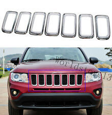 fit Jeep Compass 2011-2016 Chrome Front Grille Vent Hole Grill Frame Cover Trim