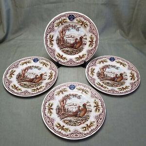 "ROYAL STAFFORD Pheasant THANKSGIVING  Dinner Plates  11"" Set of 4 - NEW!"