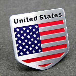 1X Universal Car Door Shield Aluminum American Logo Flag Emblem Sticker Badge