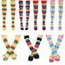 Womens Cotton Rainbow Striped Knee High Socks Arm Warmer Fingerless Gloves Set