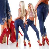 Jeans donna blu scuro elasticizzato skinny caviglia farfalla strass nuovo