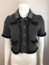 NWT Twelve By Twelve Heather Gray Black Beaded Collar Cropped Jacket Size XS