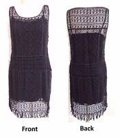 $198 Ralph Lauren Sleeveless Fringed Crocheted Sheath Lined Lace Dress M XL XXL