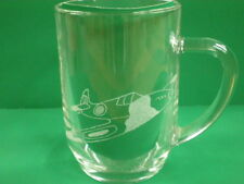 Personalised Freehand Engraved Pint Beer Glass Tankard Spitfire Plane + Name