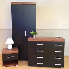 3 Piece Black & Walnut Bedroom Set! Wardrobe, 4+4 Drawer Chest, Bedside Table! 8