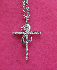 Jane Seymour Open Heart CROSS 1/6ct Diamond Ster Silver Necklace OFFERS WELCOME