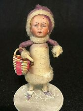 Rare Purple German Cotton Snow-Girl Vintage Christmas Ornament