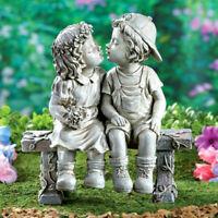 Couple Girl Boy Kissing Love Garden Antique Sculpture Statue Lawn Garden Yard