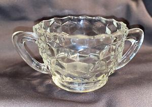 Fostoria Crystal American Clear Open Sugar Bowl w/ Handles Vintage Cube Design
