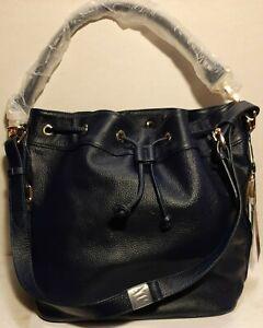 $356 Ora Delphine Claire Drawstring Bucket Bag Blue Leather Purse / Handbag NWT
