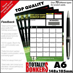 RUGBY LEAGUE FUNDRAISING SCRATCH CARDS  30 TEAMS - WINNERS - FREE UK POSTAGE