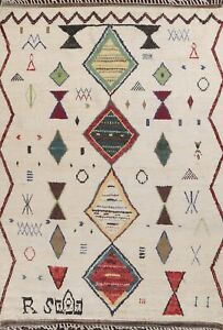 8x11 IVORY Geometric Moroccan Oriental Area Rug Hand-knotted Tribal Living Room