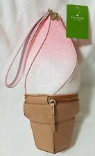 KATE SPADE Flavor of the Month Pink Ombré Ice Cream Cone Wristlet Bag NEW