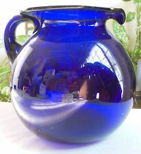 Vintage Hand Blown Large Heavy Cobalt Blue Glass Pitcher AS IS