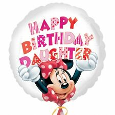 "18"" Round Minnie Mouse Happy Birthday Daughter Foil Balloon Helium Fête"