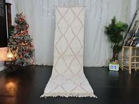Handmade Moroccan Beni Ourain Runner Rug 2'7x9'6 Berber White Pink Wool Carpet