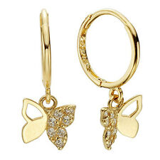 14k Solid Yellow Gold Hoop Earrings Fly 6872 Charming butterfly Design Lovely
