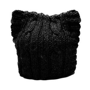 Handmade Knit Pussycat Hat Womens Parade Cap Cat Ears Cute Beanie Gift