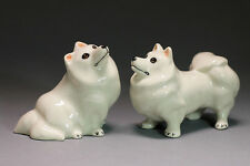 Eskimo,Samoye dog Miniature Ceramic Animals Figurine,Collectibles,terrarium dogs