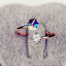 Multicolor Women Diamond Rhinestone Open Ring Birthday Memorial Day Gift for Her