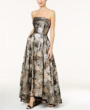$399 XSCAPE Womens BEIGE SILVER STRAPLESS BROCADE Ball Gown A-LINE DRESS SIZE 6