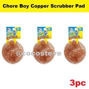 3 Chore Boy Copper Scrubber Scouring Pad 100% Pure Copper Pure Copper (3-Pack)