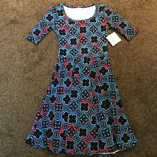 LulaRoe Small Nicole Dress Blue Black Pink Geometric Print, S, NWT