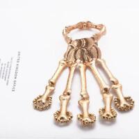 Skelett Hand Finger Knochen Silber Gold Skelett Armband Punk kreative Ring H9U8