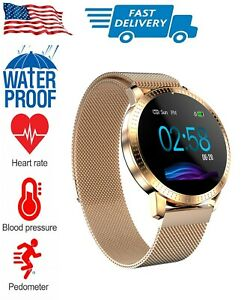 Rose Gold Waterproof Smartwatch with Text Call Facebook Instagram Notifications